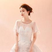 2017春秋夏季新娘婚纱蕾丝披肩白色显瘦伴娘礼服薄款外套斗篷