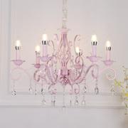 欧式水晶蜡烛灯公主房粉色女孩浪漫婚房灯饰田园客餐厅主卧室吊灯