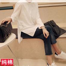 秋季女装宽松圆领长袖T恤女上衣百搭显瘦纯色中长款打底衫春