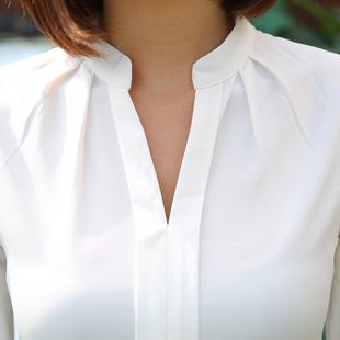2016秋装新款雪纺上衣韩版修身雪纺衫长袖职业衬衫白色衬衣打底衫