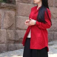 【细语的早晨】【珑缘绣色原创设计】胭脂红麻衬衣