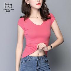 韩标短袖女夏纯棉V领玫红版纯色紧身上衣2018鸡心领T恤女
