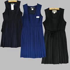 古着藏蓝色学生文艺森系无袖背带日本制中古jk制服连衣裙