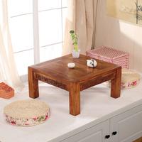 包邮仿古老榆木炕桌宜家实木雕花榻榻米小茶几简约地台桌矮桌茶桌