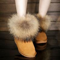 新款冬女靴雪地靴棉靴真皮平底防滑牛皮貉子毛短靴狐狸毛雪地靴