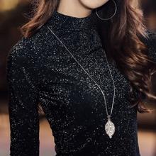 打底衫女长袖亮丝T恤秋冬纯色金银丝网纱上衣半高领蕾丝衫潮