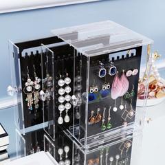 耳环盒子透明整理耳钉首饰塑料收纳盒韩国亚克力耳饰饰品防尘挂架