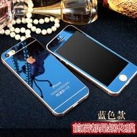 IPHONE4S 钢化膜苹果5S玻璃膜电镀镜面 前后套彩膜高清SE手机贴膜