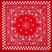 红底格子骷髅纯棉大方巾嘻哈头巾街舞多用方巾围脖围巾时尚潮男女
