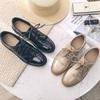 系带圆头粗跟小皮鞋黑色漆皮女单鞋英伦风女鞋秋季中跟复古牛津鞋