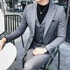 男士西服套装潮西装三件套帅气新郎结婚礼服套装伴郎西装