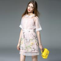 夏新品欧美高端女装重工刺绣收腰系带欧根纱连衣裙吊带两件套7101