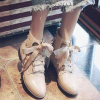 马丁靴平底短靴女春秋单靴系带2016秋冬新款圆头真皮骑士靴平跟潮