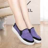 尚程男格子套脚布鞋低帮帆布鞋女夏季透气休闲情侣款球鞋平底板鞋