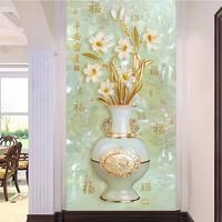 高端定制玉雕3D立体无缝整张壁画精美花瓶百福平安富贵玄关背景墙