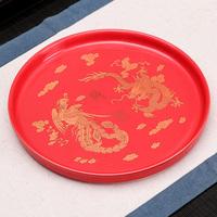 新款结婚用喜托盘婚礼敬茶敬酒家用红色圆形陶瓷器茶盘婚庆糖果盘