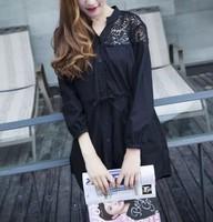 大码女装2016春季新款韩版宽松大码衬衫女装棉麻蕾丝拼接衬衣上衣