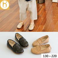 H家代购韩国女童鞋进口正品2016秋新款平底漆面漆光皮亮面皮鞋