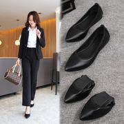 软底工作鞋女黑色平底鞋大码职业空姐鞋女尖头单鞋皮鞋舒适上班鞋