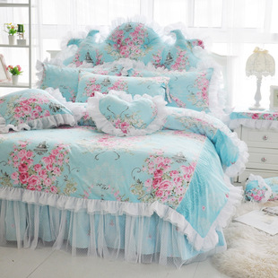 斜纹碎花蕾丝花边床裙四件套全棉纯棉被套床罩公主床上4件套