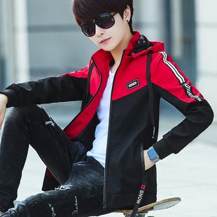 夹克男外套潮流帅气秋装男生青少年外衣秋季运动学生上衣