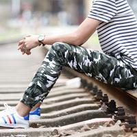 学生款军训裤休闲裤男士修身青少年小直筒长裤松紧腰军工装迷彩裤