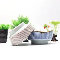 三分陶瓷碗日韩创意餐具蓝雨红弦系列高脚碗布丁碗雪糕球碗甜品碗