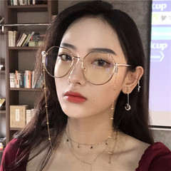 原宿风大框瘦脸链条眼镜ins造型素颜框架女日系软妹圆脸配近视镜