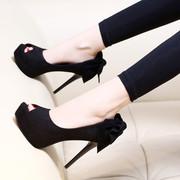 黑色蝴蝶结鱼嘴高跟鞋女夏2017百搭凉鞋防水台秋季细跟单鞋潮