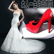 超高跟单鞋女漆皮性感尖头高跟鞋细跟防水台裸色12cm红色婚鞋