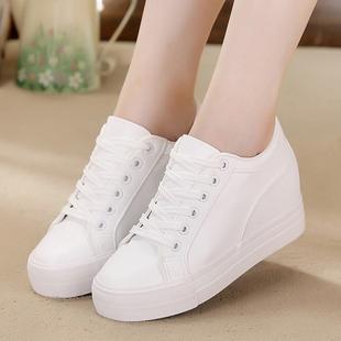 小白鞋女2021秋季黑白色软皮面韩版厚底内增高休闲帆布鞋女鞋