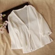 中国风复古文艺范刺绣棉麻V领开衫 女七分袖亚麻薄款绣花上衣外搭