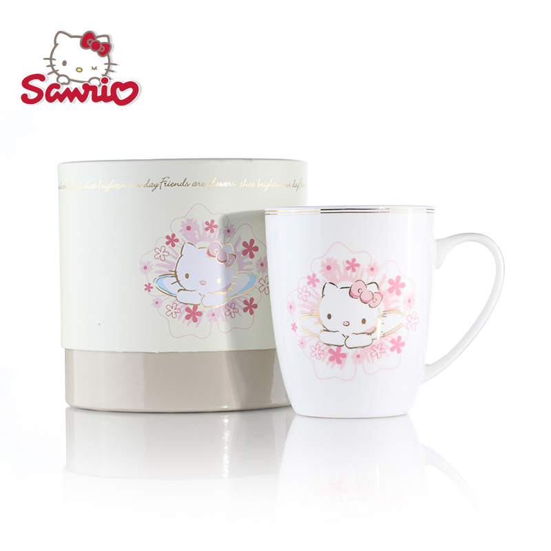 Hello Kitty正品骨瓷水杯创意简约大容量茶杯 陶瓷马克杯咖啡杯子