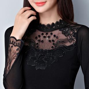 秋冬长袖t恤百搭半高领网纱加绒加厚打底衫蕾丝上衣洋气小衫