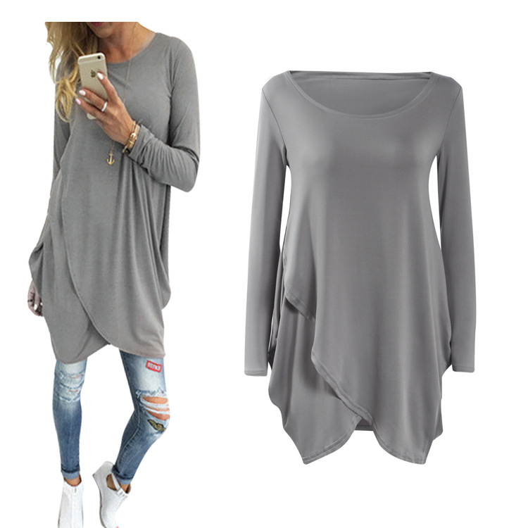 Long sleeve irregular loose dress 2016 Womens causal shirt
