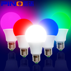 led彩色灯泡e27e14家用红色蓝色粉紫色黄色装饰照明节能灯3瓦