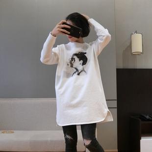 女装秋冬加绒T恤2018冬季中长款加厚打底衫长袖T恤裙大码宽松