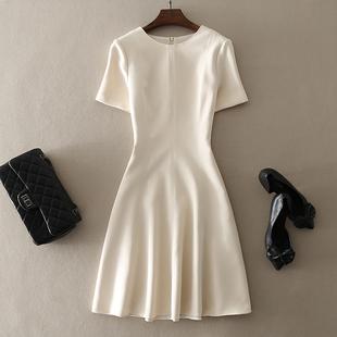 中长款收腰短袖连衣裙子时尚大牌纯色A字裙2021早秋气质女装