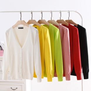 针织开衫女毛衣v领外搭 薄款披肩长袖大码春秋季空调衫短款小外套