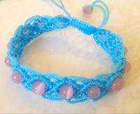纯手工编织手链,猫眼珠手链,粉色水晶手链送女友,情人节礼物
