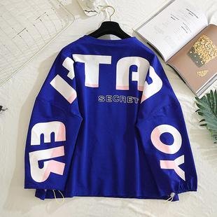 秋季女装2019韩系东大门嘻哈上衣宽松长袖原宿风T恤中学生衣