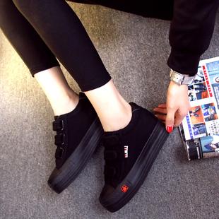 全黑色潮女帆布鞋松糕底内增高魔术贴透气鞋球鞋
