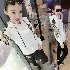 欧洲站春装运动套装女时尚欧货显瘦运动服卫衣两件套
