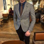 鹿三先生冬季西服男士英伦小格子青年小西装外套单西