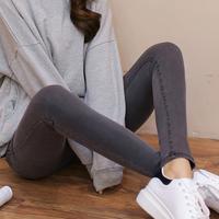 秋天灰色高腰牛仔裤女长裤修身弹力显瘦学生韩版小脚紧身铅笔裤子