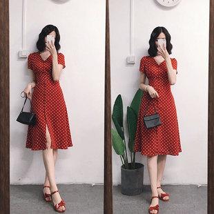 赫本风红色法式桔梗裙v领复古高腰a字雪纺波点连衣裙女夏茶歇裙子