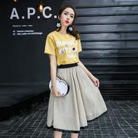 维希2017夏装新款时尚套装纯棉字母T恤上衣A字裙两件套韩版套裙女