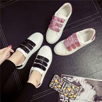 秋季亮片魔术贴小白鞋皮面帆布鞋女韩版白色板鞋女平跟休闲单鞋子