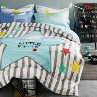 全棉卡通四件套纯棉简约1.8m床双人单人被套床单床上用品一米五床
