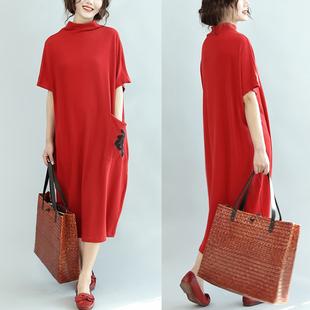 加肥加大码女装秋季打底衫200斤宽松半高领口袋绣花蝙蝠袖连衣裙